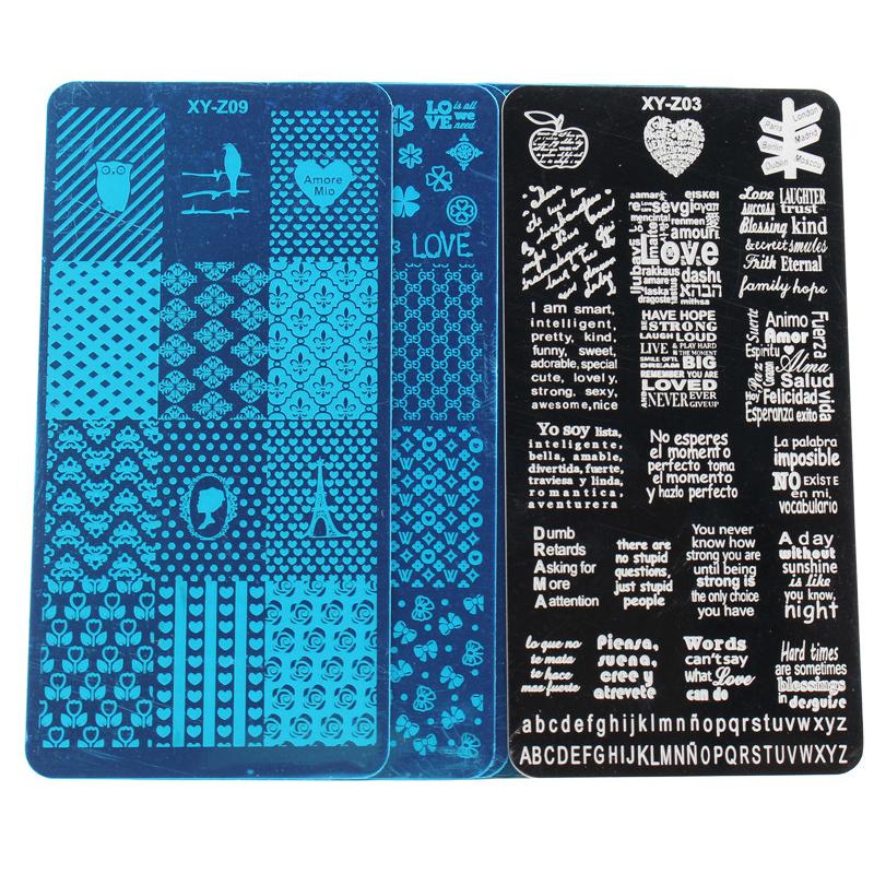 Stamp Plates Nail Art Stamping Template Stainless Steel Grid Marble Fire Animal Flower Letter Design Nail Art Stencil Tools