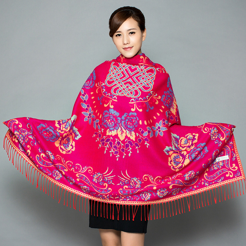 Ethnic Style Autumn And Winter Thickened Female Shawl Double-sided Warmth Imitation Cashmere Scarf Chinese Knot Square Scarf
