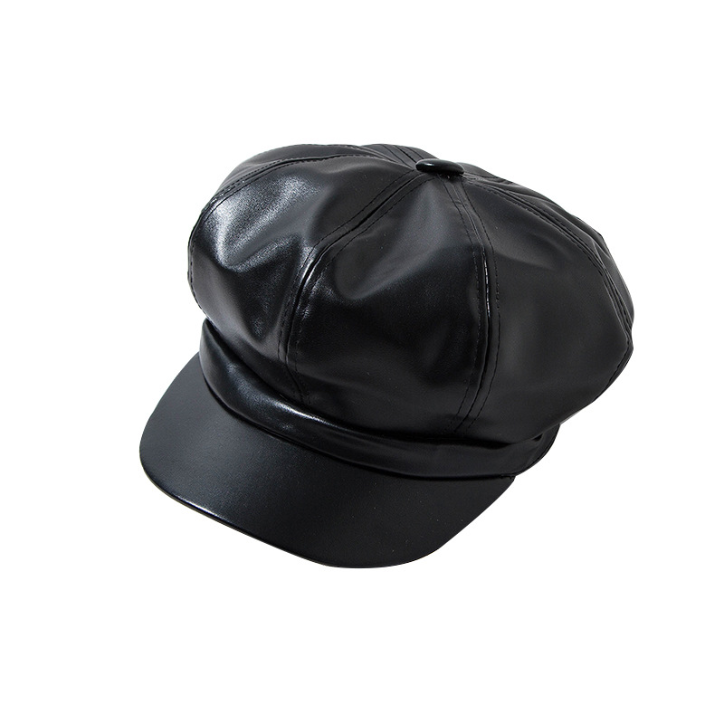 Fashion Autumn Winter Black PU Leather Beret Hats Women Warm Caps Female French Femme Design Adjustable Beret Hat Octagonal Cap