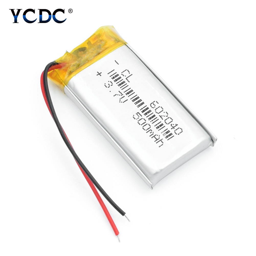 602040 3.7V 500mAh Lithium Polymer Li-ion Rechargeable Battery For GPS MP3 MP4 MP5 Car DVR Tachograph Headphone Li Ion Cell 4PCS