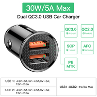 Baseus 30W USB Car Charger Quick Charge 4.0 3.0 FCP SCP AFC USB PD Fast Charging Car Phone Charger For Huawei Xiaomi iPhone 12
