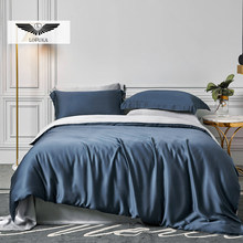 Lofuka Luxury Women 100% Silk Bedding Set Beauty Blue Gray Duvet Cover Queen King Flat Sheet Fitted Sheet Pillowcase For Sleep