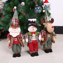 52cm Santa Claus Christmas Snowman Dolls Decorations Birthday Party Gift for Home Retractable Standing Toy Kids Natal