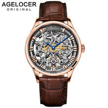 купить AGELOCER Skeleton Power Reserve 80 Hours Mechanical Watch Men Automatic Gold Leather Mechanical Wrist Watches Reloj Hombre 2019 по цене 29428.88 рублей