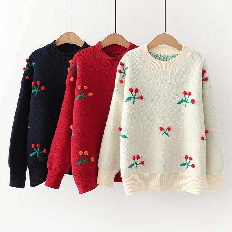 Japanese Korean Style Women Solid Cherry Pattern Kawaii Knitted Sweater Autumn Winter Thick Round Neck Loose Jumpers Ladies