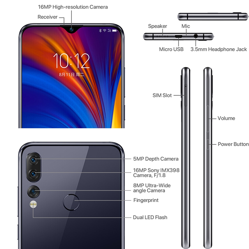 Image 4 - Lenovo Z5S 6GB 64GB 128GB with gift 6.3 inch Smartphone Z5 s Triple Rear Camera cellphone Snapdragon 710 Android P Global ROM