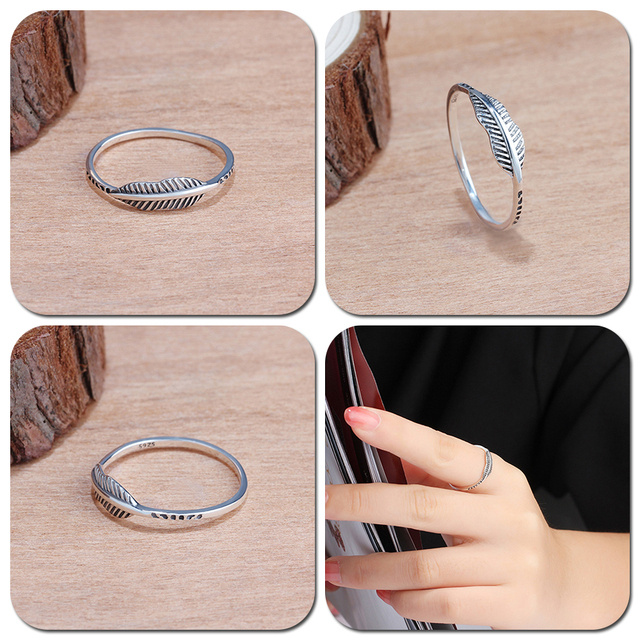 LicLiz 2019 Simple 925 Sterling Silver V Shape Rings for Women Heart Star Leaf Braided Band Silver Jewelry Joyas de Plata LR0470 5