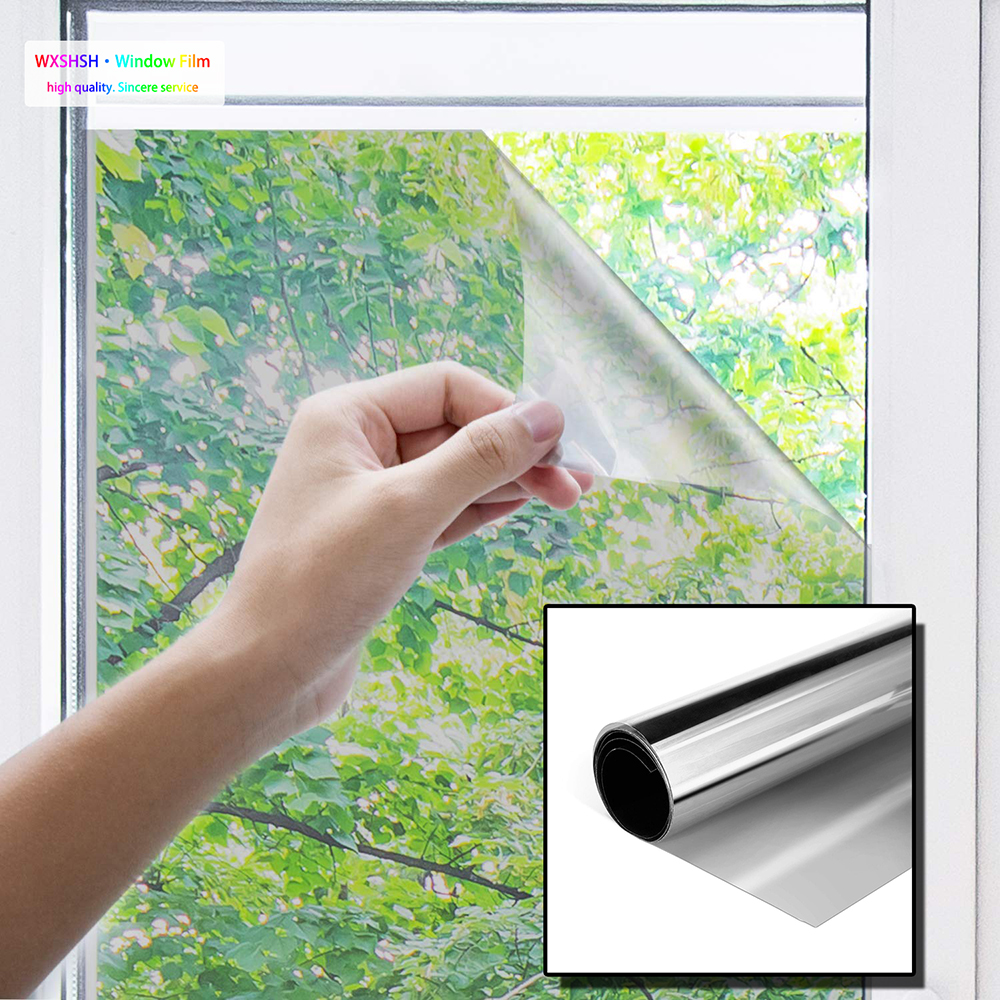 0 7 2 m Silver One Way Window Film Anti UV Self adhesive Glass Film Light Blocking for Privacy Decorate Heat Control Glass Tint in Decorative Films from Home Garden
