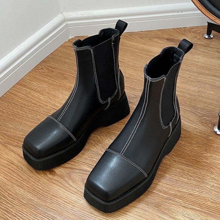 toe plataforma plana tornozelo botas inverno outono