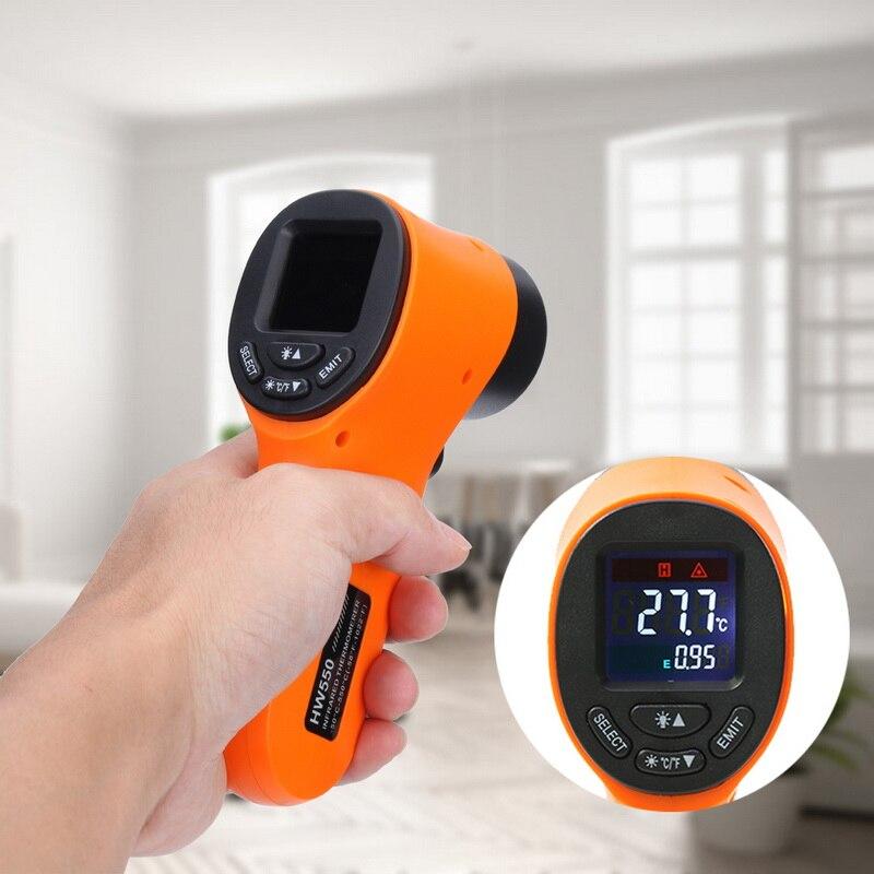 Medidor de Temperatura a Laser Ponto de Laser-50550 Digital Termômetro Infravermelho Não-contato Handheld Pirometer ir Hw550