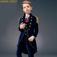 Children suit kids suits boys suits teens suit wedding dress boys blue Velvet suit wedding suits set for boys formal tuxedo