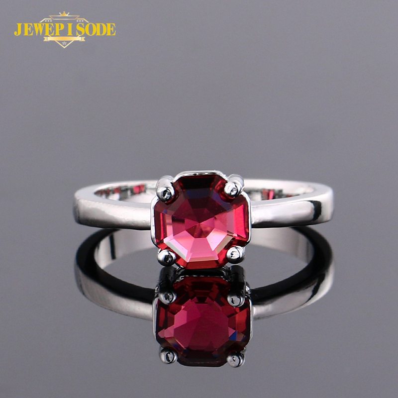 Jewepisode Top Quality 925 Sterling Silver Ruby Gemstone Rings for Women Wedding Anniversary Fine Jewelry Ring Wholesale Gift