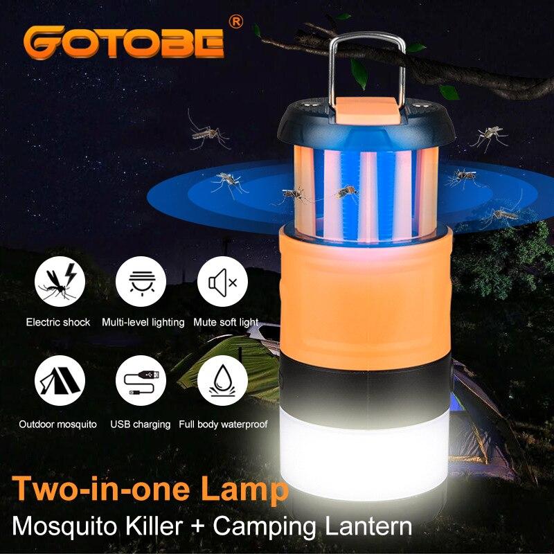 Электрическое средство для уничтожения насекомых, ловушка для насекомых Zapper Killer, водонепроницаемая лампа с фонариком, USB зарядка, для комар...