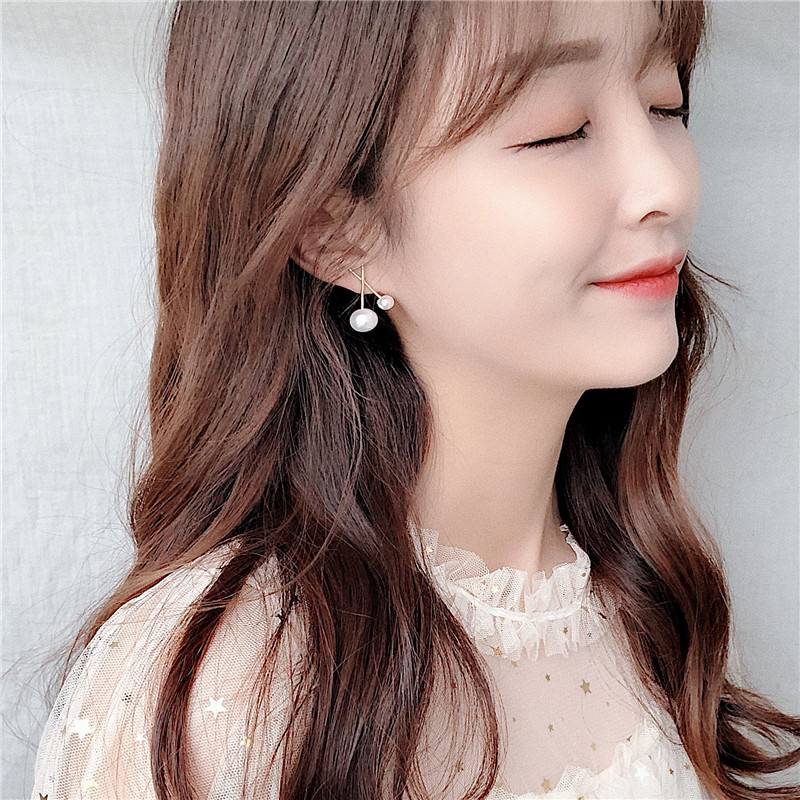 AOMU 2019 Korean Design Gold Metal Cross Big and Small Pearl Flower Stud Earrings for Women Girl Party Wedding Jewelry Gift