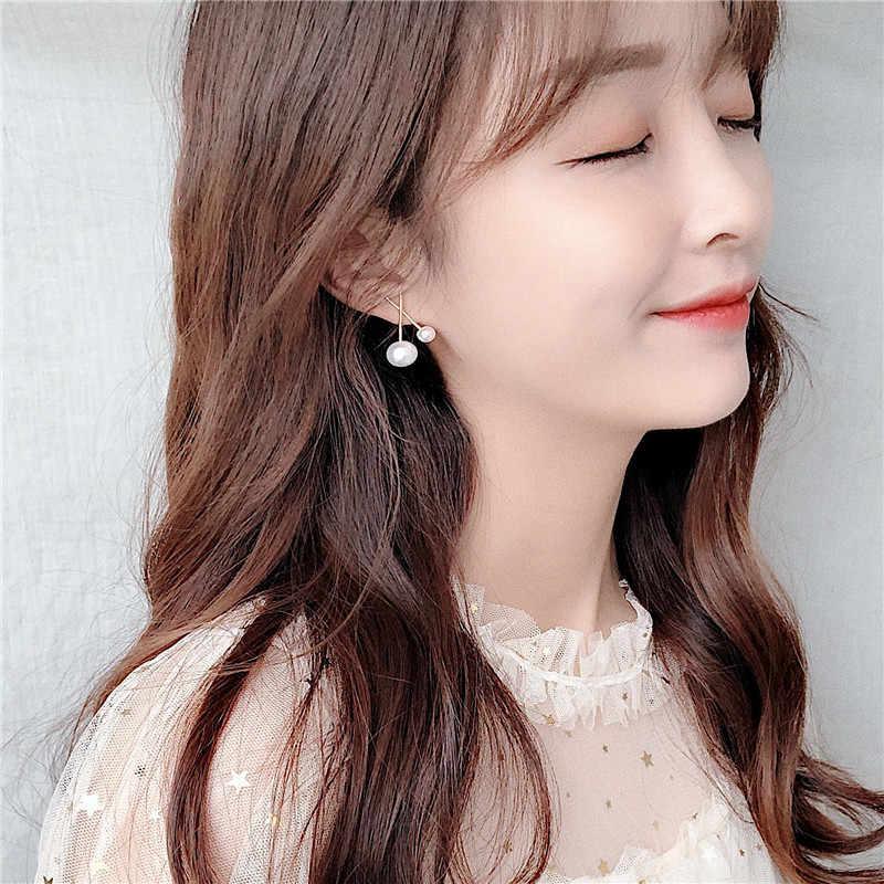 Aomu 2019 coreano design ouro metal cruz grande e pequeno pérola flor brincos para festa de casamento da menina presente jóias