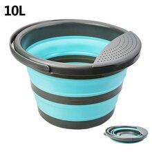 Cubo plegable portátil de 4L/10L, contenedor de cubo de agua con mango resistente para limpieza, pesca, coche, Picnic, viaje