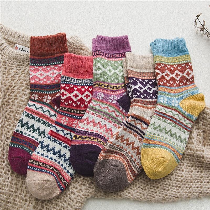 5 pares/lote novo witner grosso lã quente meias femininas meias de natal do vintage meias coloridas presente moda meia feminina