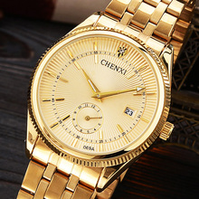 Brand CHENXI Men Dress Quartz Watch Luxury Design Rhinestone Full Stainless Steel Business Gold Wrist male casual relogio