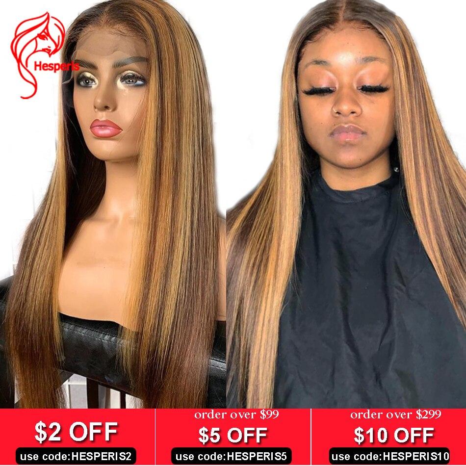 Hesperis13x6 парик из натуральных волос на кружеве, коричневый и блондин, парики с изюминкой, бразильские волосы Remy, 360, парик на кружеве, парик на фронте из светлых волос