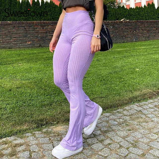 Sweetown Purple Ribbed Joggers Women Knitted Flare Pants Slim High Waist Aesthetic Trousers Female Vintage 90s Sweatpants 4