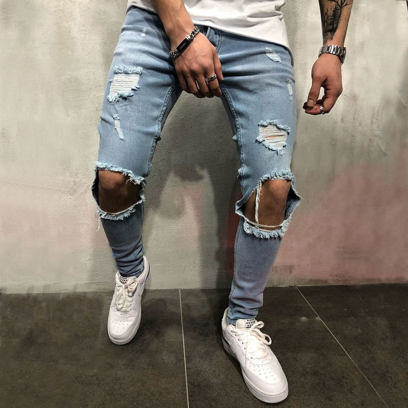 Europe And America High Street MEN'S Jeans Retro Ripped Jeans Knee With Holes Slim Fit Jeans Fashion Man Skinny Pants