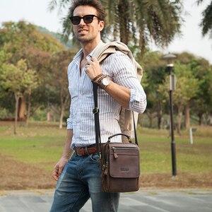 Мужская сумка-мессенджер CONTACT'S, винтажная сумка-мессенджер из кожи Crazy Horse для iPad 7,9 дюйма, Сумка через плечо высокого качества