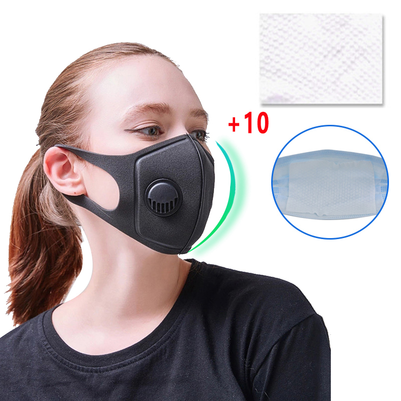 1+10pcs Anti Pollution Mask Mask N95 Respirator Dust Mask PM2.5 5 Layers Washable Cotton Mouth Masks With Replaceable Filter