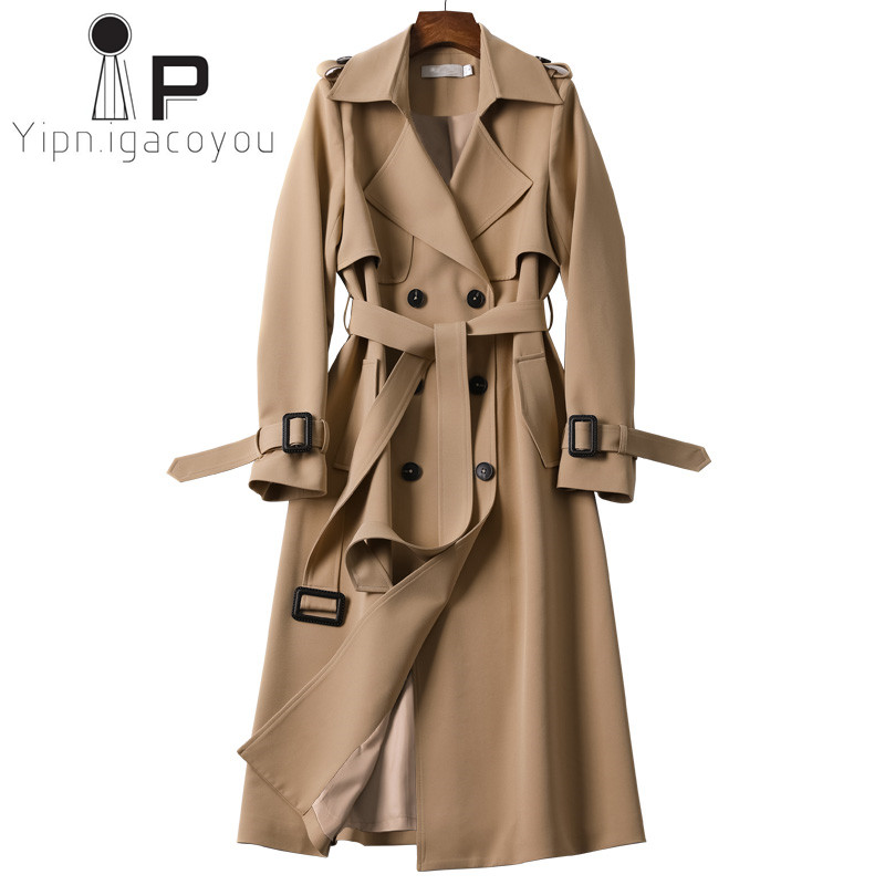 Fashion Spring Autumn Khaki Windbreaker Women Classic Business Outwear Korean Thin Slim Double-breasted Long   Trench   Coat Female