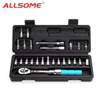 "ALLSOME 1/4"" 2-14Nm Adjustable Torque Wrench Bicycle Repair Tools Kit Set Tool Bike Repair Spanner Hand Tool Set"