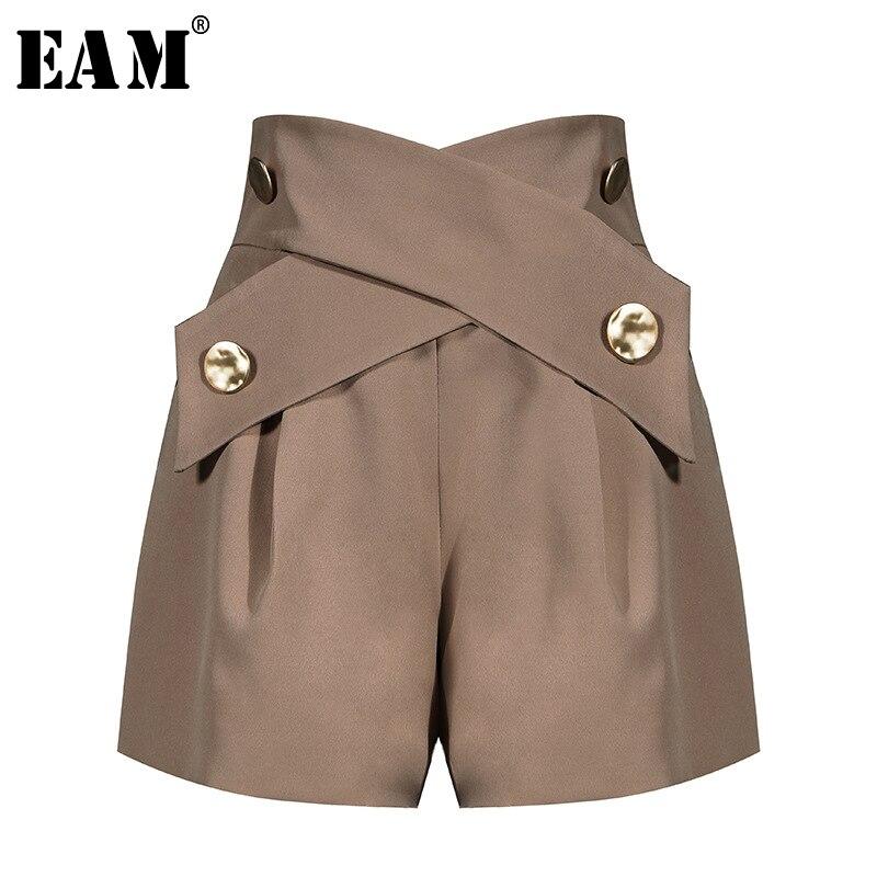 [EAM] Women Khaki Cross Button Split Wide Leg Shorts New High Waist Loose Fit  Trousers Fashion Tide Spring Summer 2020 1U780