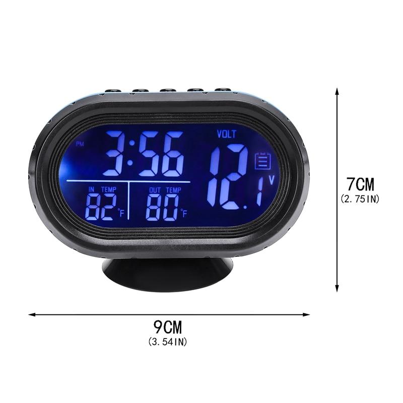 Car Thermometer Digital Clock Automobile Clock LED Lighted Auto Dual Temperature Gauge