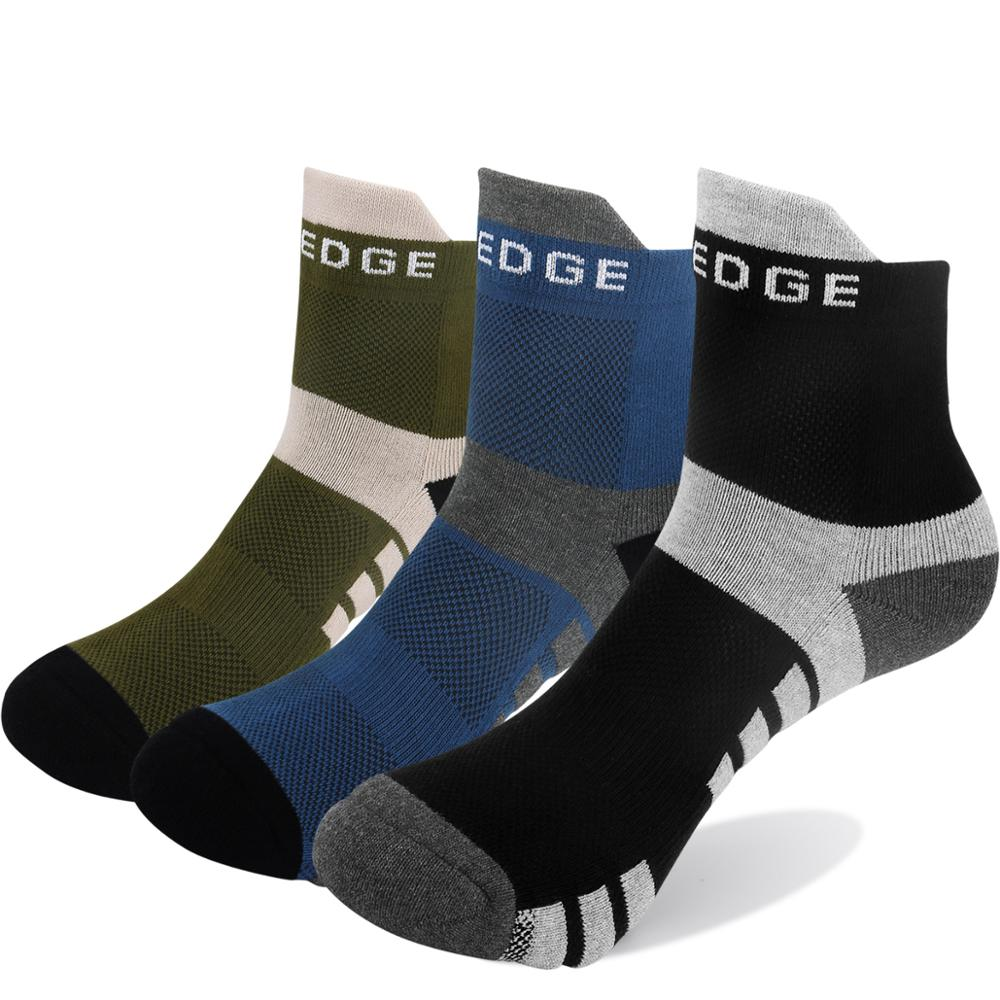 YUEDGE 3 Pairs Mens Cotton Fitness Training Socks Outdoor Hiking Walking Backpacking Trekking Athletic Sports