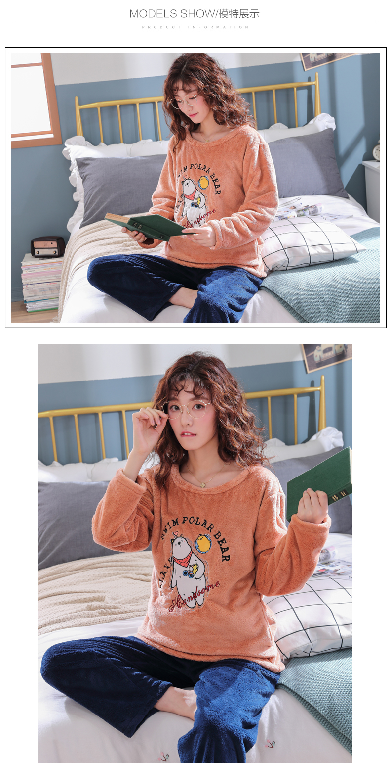 Long Sleeve Warm Flannel Pajamas Winter Women Pajama Sets Print Thicken Sleepwear Pyjamas Plus Size 3XL 4XL 5XL 85kg Nightwear 405