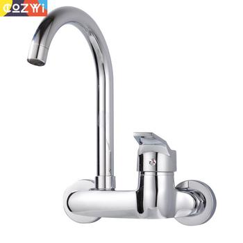 Wall Mounted Kitchen Faucet All Copper Body Rotatable Sprayer Spout Hot&Cold Water Tap 360 Rotation Kitchen Faucets