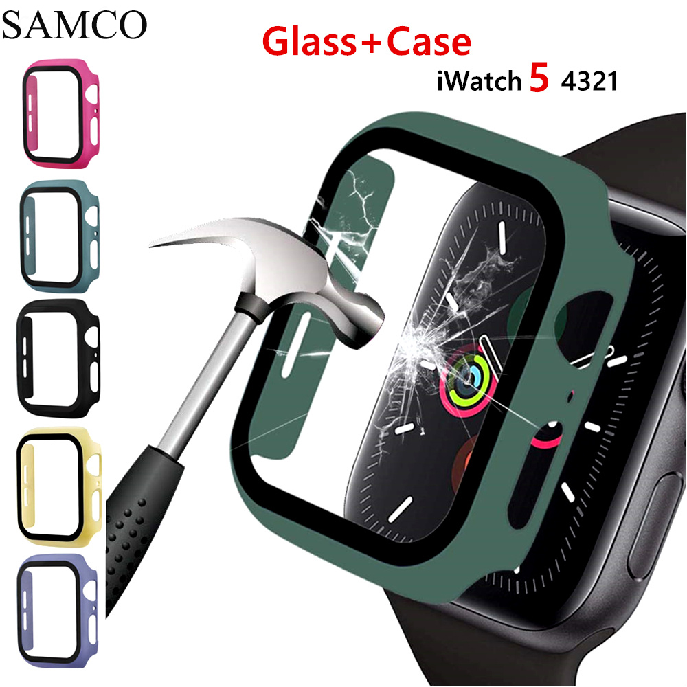 SAMCO Full cover for Apple Watch series 5 <font><b>4</b></font> <font><b>3</b></font> <font><b>2</b></font> matte Plastic bumper hard frame case with glass film for iWatch screen protector image