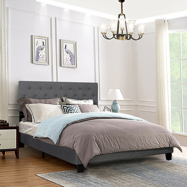 Queen Size Upholstered Panel Bed  1