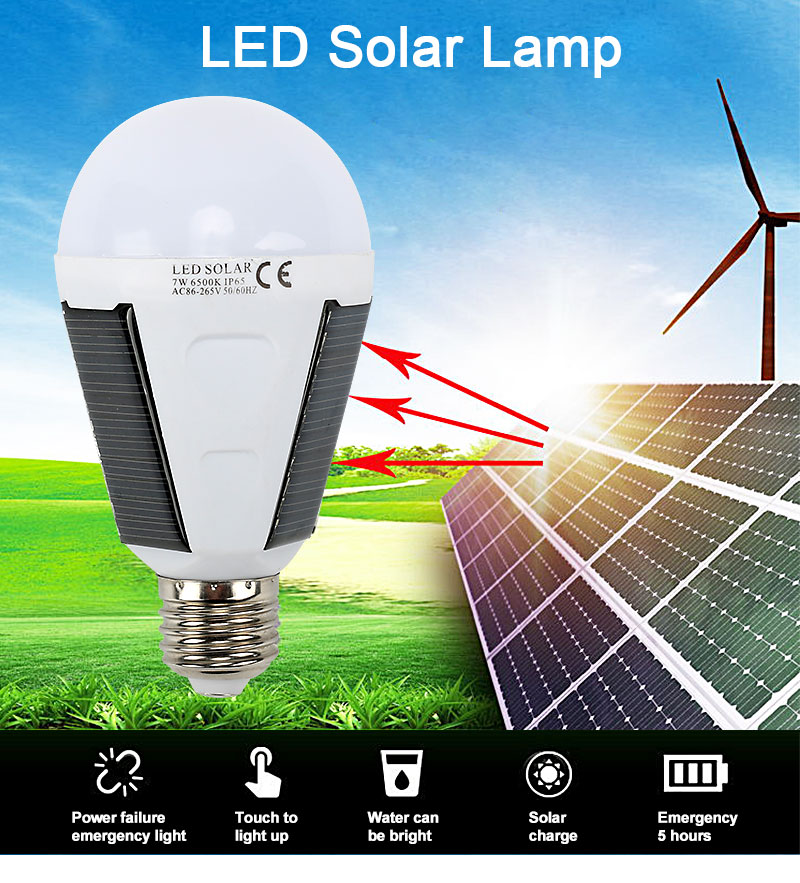 H0887493689ae4cf7b5c90572152df557A - Solar light outdoors LED lighting portable bulb lamp emergency light garden corridor light indoor emergency lighting bulb lamp