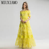 MIUXIMAO 2020 Spring Half Sleeve Dress Fashion Runway 3D Floral Lace Vintage Elegant Long Dress Women vestidos Cake Maxi Dress