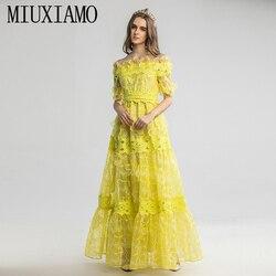 Miuximao 2020 Lente Half Mouw Jurk Fashion Runway 3D Bloemen Kant Vintage Elegante Lange Jurk Vrouwen Vestidos Cake Maxi Jurk