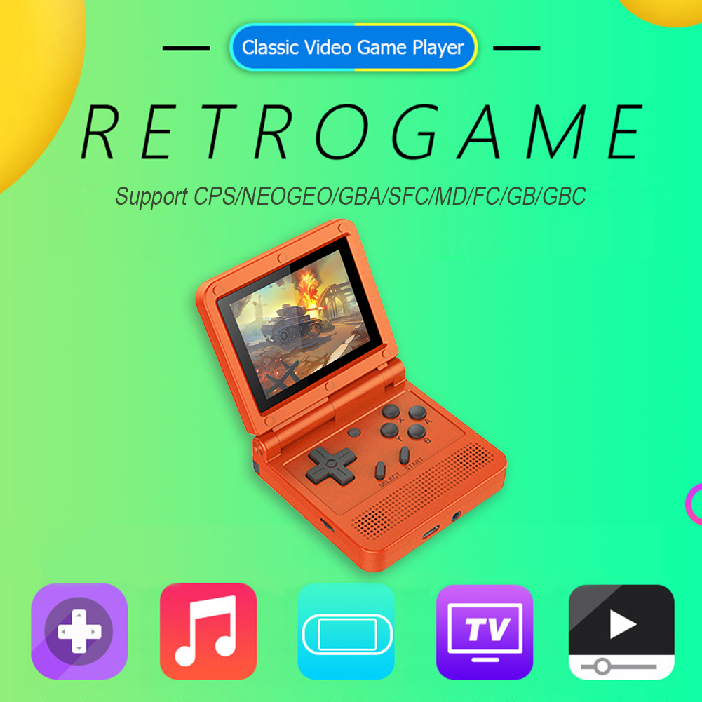 POWKIDDY V90 3 0 inch Mini Handheld Console Portable Mini Video Game Player 16GB Retro Flip Handheld Console Built-In 3000 Games