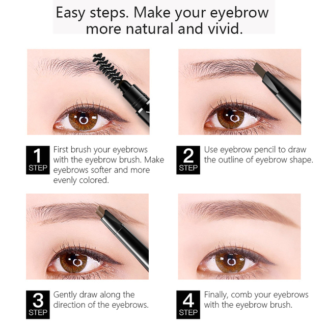Eye Brow Tint Cosmetics Natural Long Lasting Paint Tattoo Eyebrow Waterproof Black Brown Eyebrow Pencil Makeup Set 1