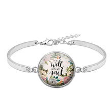 LISTE&LUKE Fashion Psalm Bracelet Art Picture Print Glass Dome Charms Bible Verse Quote Jewelry Gift For Christian