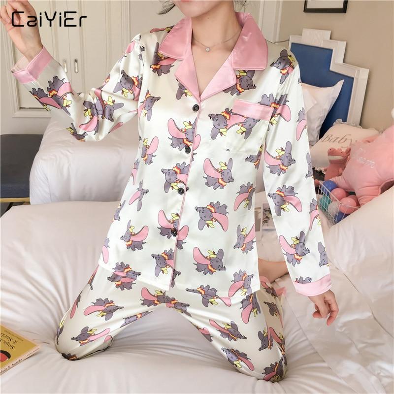 Caiyier Silk   Pajama     Set   Cute Dumbo Print Long Sleeve Sleepwear Autumn Winter Casual Nightwear Ladies Homewear M-XXL