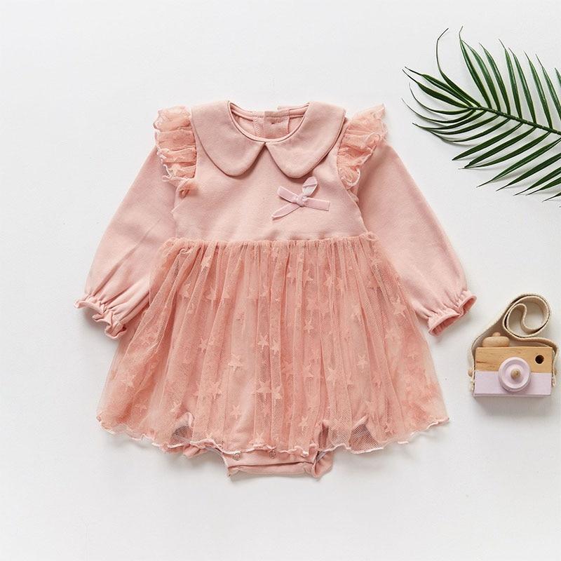 1Pc Baby Girls Spring-autumn Cotton Long Sleeve Star Print Patchwork Mesh Dress Bowknot Kids Princess Sweet Pageant Dresses