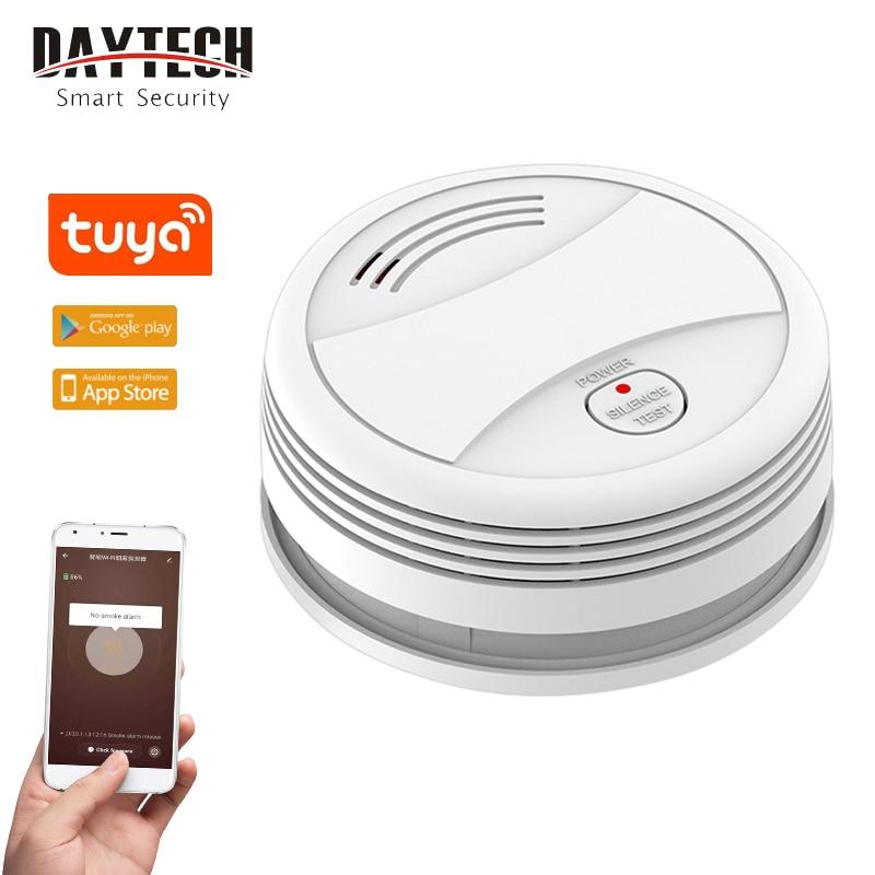DAYTECH SM10 Independent Smoke Sensor Tuya APP Control Fire Detector Fire Alarm Home Public Place Security Alarm System