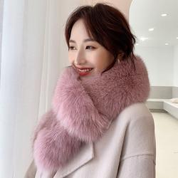 Lantafe Winter Scarf Fur Scarf Fox Fur Women Very Thick  Keep Warm Scarfs Beautiful Scarf Winter Fashion Black White Colors