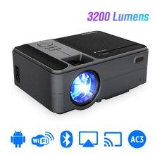 C180AB taşınabilir Mini kablosuz WiFi LED akıllı Android projektör 720p dahili hoparlör Bluetooth Full HD ev sineması Video beamer