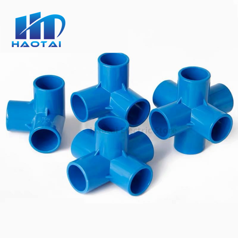 Blue PVC 3/4/5/6 Dimensional Internal Diameter 20mm,25mm,32mm PVC Pipe Fittings Home Garden Irrigation Water Connectors DIY Tool