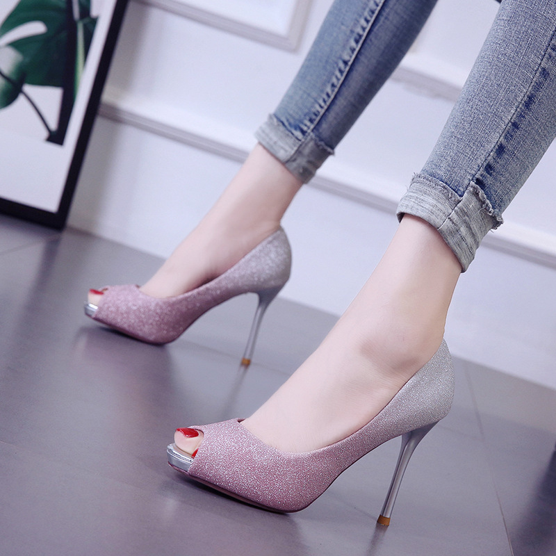 Women high heels 2019 new fine with waterproof platform fish mouth female shoes summer shallow mouth wild ladies shoes in Women 39 s Pumps from Shoes