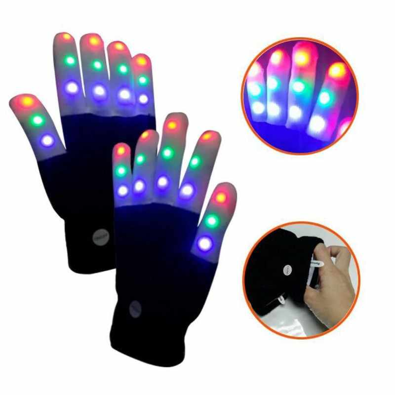 1//2pcs LED Rave Flashing Gloves Glow 7 Mode Light Up Finger Lighting Party Kids